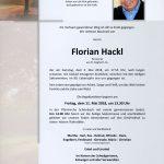 Nachruf Florian Hackl